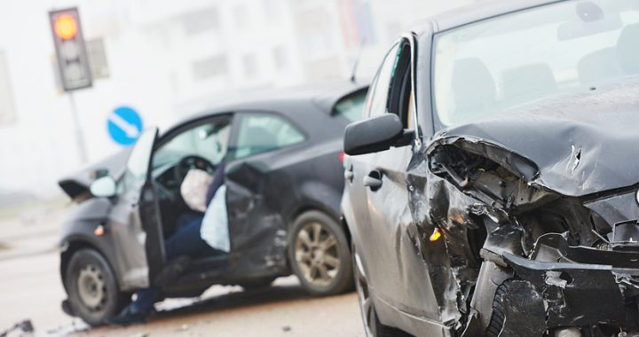 car crash accident on street, damaged automobiles after collision - safe transportation service